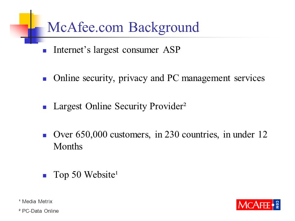 McAfee.com Background Internets largest consumer ASP Online security, privacy and PC management services Largest Online Security Provider² Over 650,000 customers, in 230 countries, in under 12 Months Top 50 Website¹ ¹ Media Metrix ² PC-Data Online