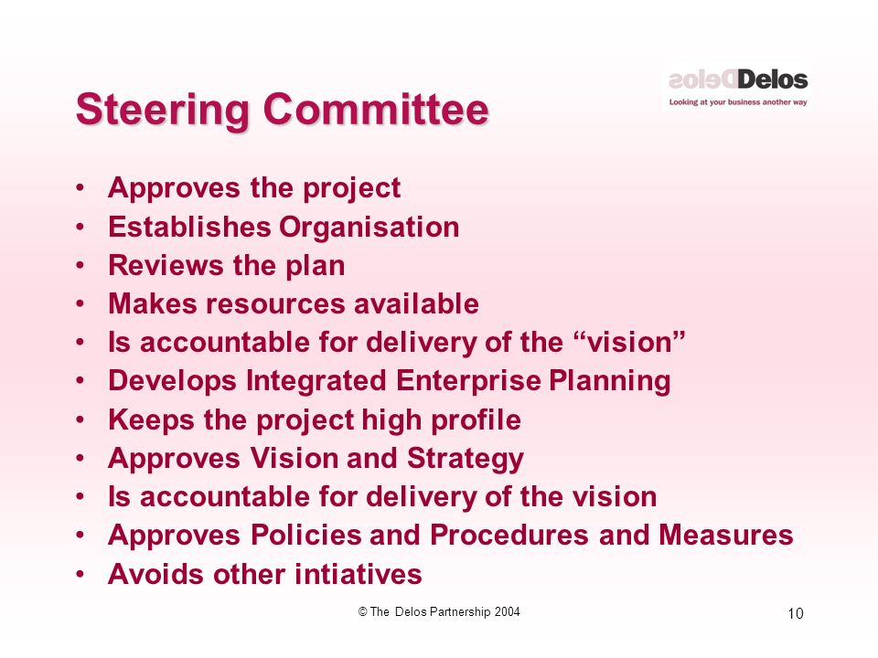 10 © The Delos Partnership 2004 Steering Committee Approves the project Establishes Organisation Reviews the plan Makes resources available Is accountable for delivery of the vision Develops Integrated Enterprise Planning Keeps the project high profile Approves Vision and Strategy Is accountable for delivery of the vision Approves Policies and Procedures and Measures Avoids other intiatives