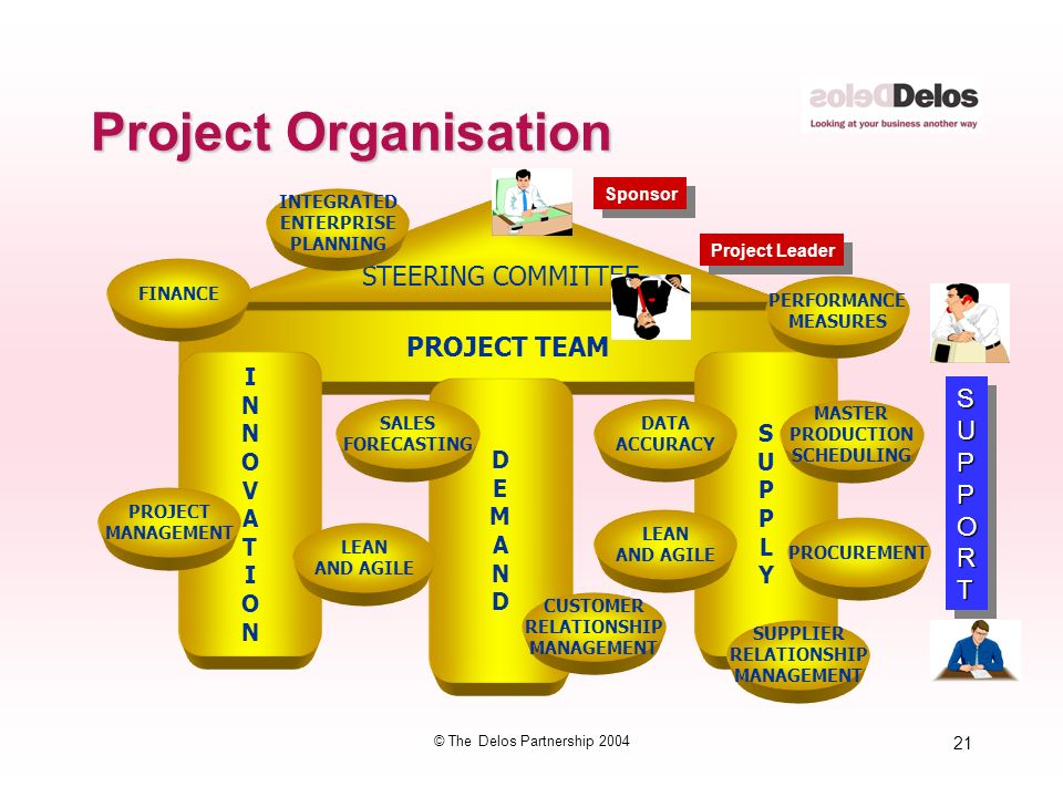 21 © The Delos Partnership 2004 Project Organisation STEERING COMMITTEE PROJECT TEAM INNOVATIONINNOVATION DEMANDDEMAND SUPPLYSUPPLY PROJECT MANAGEMENT SALES FORECASTING CUSTOMER RELATIONSHIP MANAGEMENT MASTER PRODUCTION SCHEDULING PROCUREMENT LEAN AND AGILE PERFORMANCE MEASURES FINANCE SUPPORTSUPPORT INTEGRATED ENTERPRISE PLANNING Sponsor Project Leader DATA ACCURACY LEAN AND AGILE SUPPLIER RELATIONSHIP MANAGEMENT