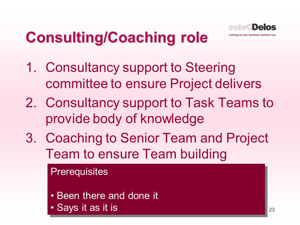 23 © The Delos Partnership 2004 Consulting/Coaching role 1.Consultancy support to Steering committee to ensure Project delivers 2.Consultancy support to Task Teams to provide body of knowledge 3.Coaching to Senior Team and Project Team to ensure Team building Prerequisites Been there and done it Says it as it is Prerequisites Been there and done it Says it as it is