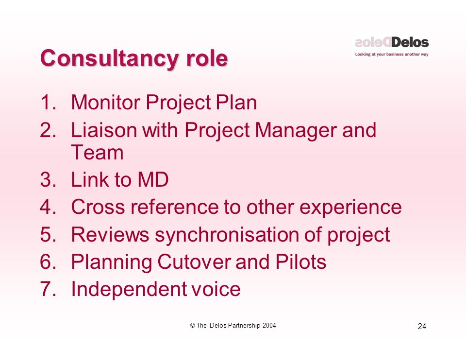 24 © The Delos Partnership 2004 Consultancy role 1.Monitor Project Plan 2.Liaison with Project Manager and Team 3.Link to MD 4.Cross reference to other experience 5.Reviews synchronisation of project 6.Planning Cutover and Pilots 7.Independent voice