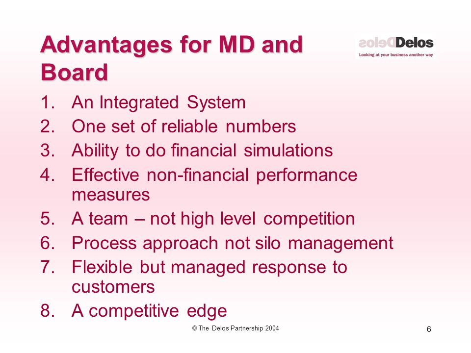 6 © The Delos Partnership 2004 Advantages for MD and Board 1.An Integrated System 2.One set of reliable numbers 3.Ability to do financial simulations 4.Effective non-financial performance measures 5.A team – not high level competition 6.Process approach not silo management 7.Flexible but managed response to customers 8.A competitive edge