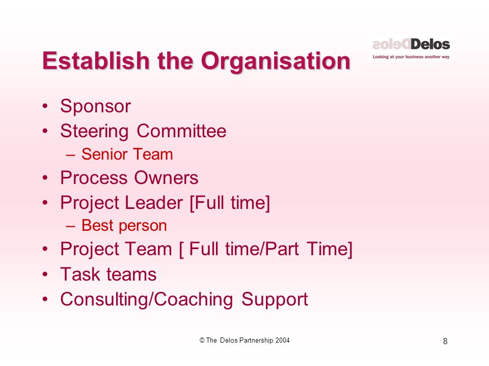 8 © The Delos Partnership 2004 Establish the Organisation Sponsor Steering Committee –Senior Team Process Owners Project Leader [Full time] –Best person Project Team [ Full time/Part Time] Task teams Consulting/Coaching Support