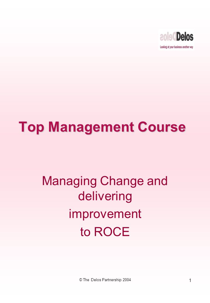 1 © The Delos Partnership 2004 Top Management Course Managing Change and delivering improvement to ROCE