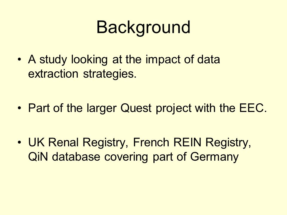 Background A study looking at the impact of data extraction strategies.
