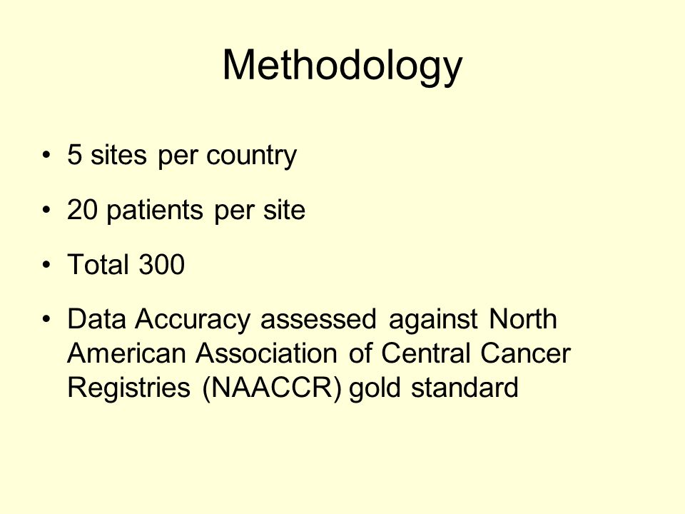 Methodology 5 sites per country 20 patients per site Total 300 Data Accuracy assessed against North American Association of Central Cancer Registries (NAACCR) gold standard