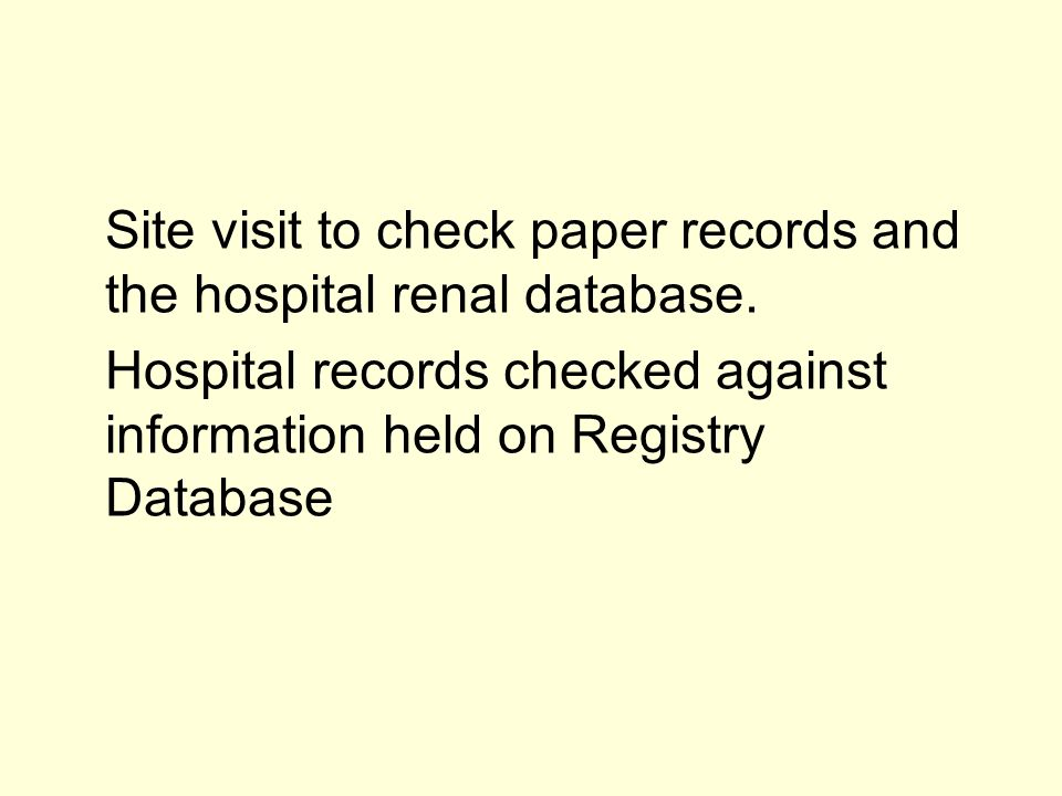 Site visit to check paper records and the hospital renal database.