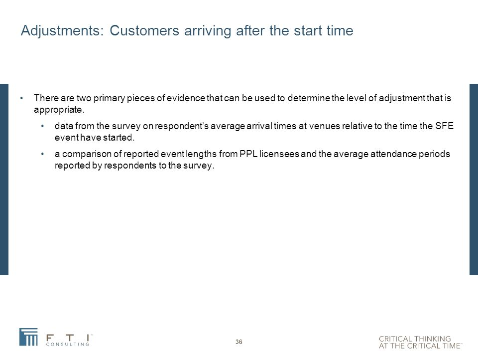 Adjustments for late arrivals and early departures PPL s provisional view is that it should structure the SFE licence based on the duration of events rather than by the average period of attendance of customers.