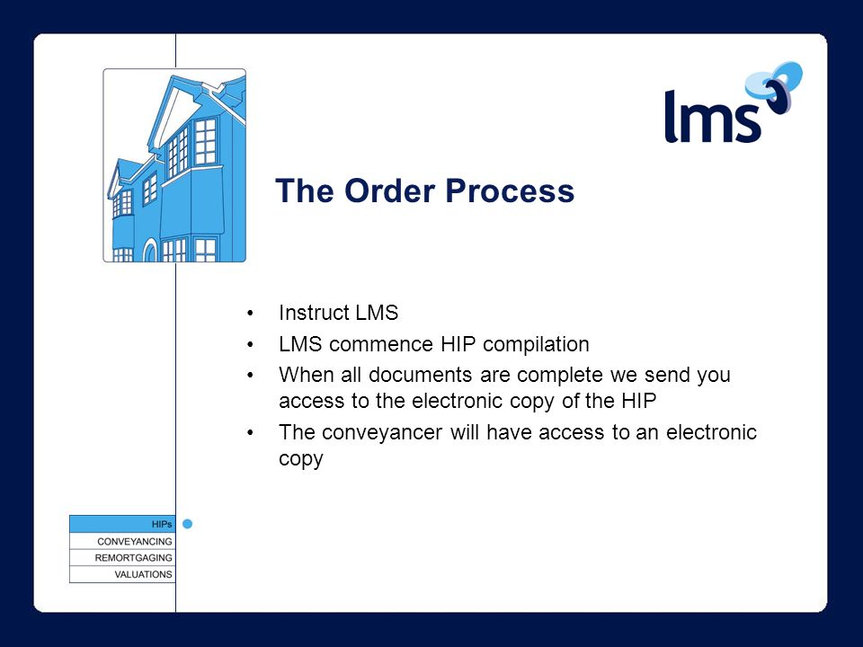 The Order Process Instruct LMS LMS commence HIP compilation When all documents are complete we send you access to the electronic copy of the HIP The conveyancer will have access to an electronic copy