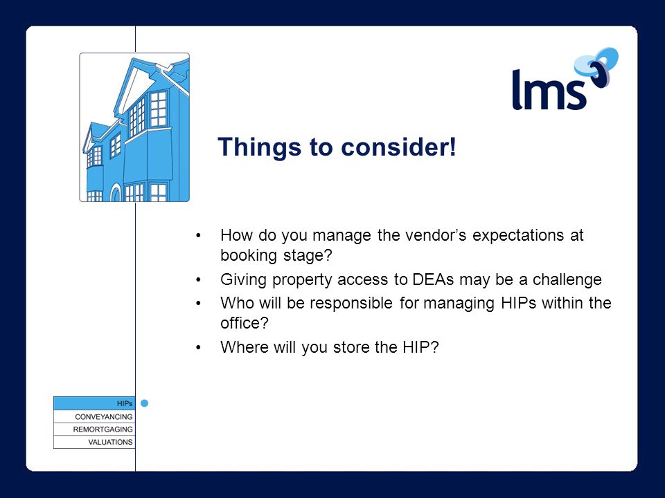 Things to consider. How do you manage the vendors expectations at booking stage.