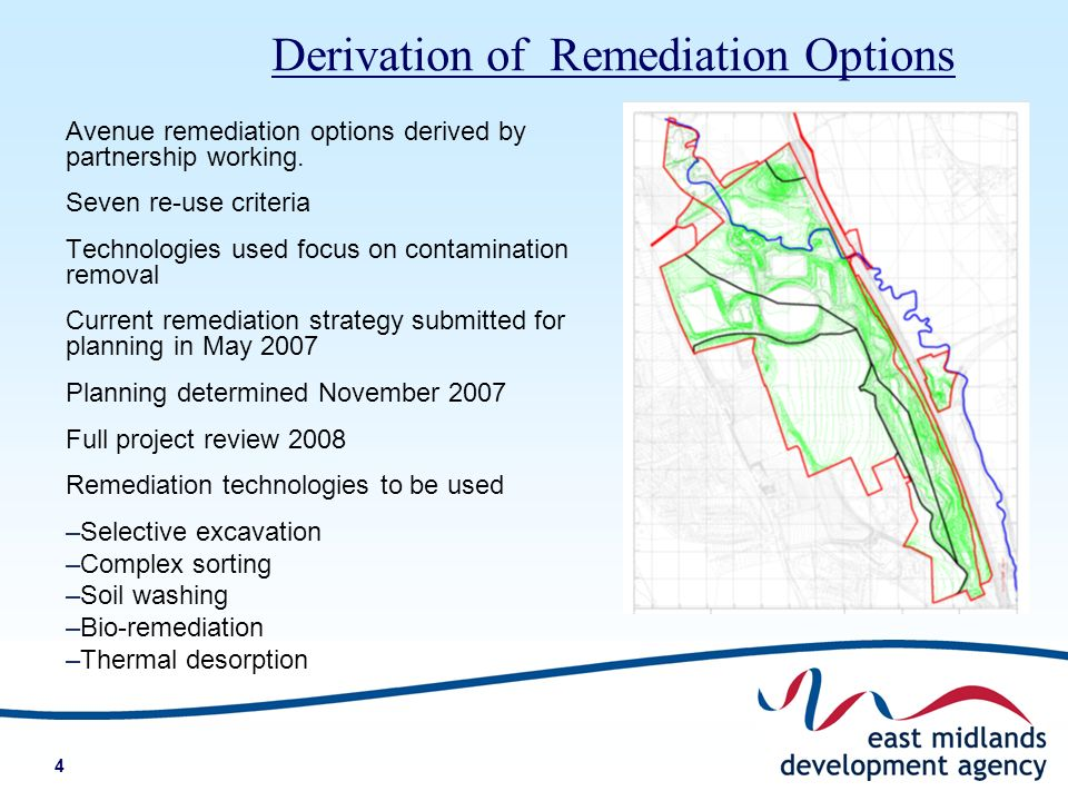 4 Avenue remediation options derived by partnership working.