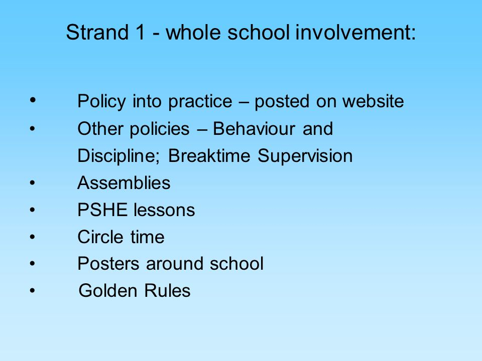 Strand 1 - whole school involvement: Policy into practice – posted on website Other policies – Behaviour and Discipline; Breaktime Supervision Assemblies PSHE lessons Circle time Posters around school Golden Rules