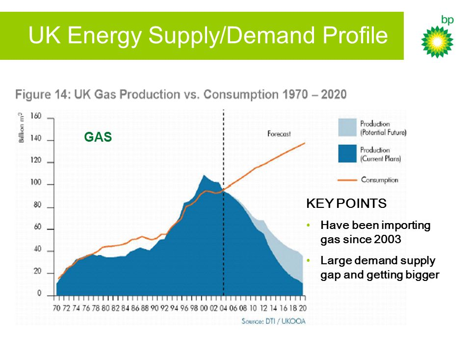 UK Energy Supply/Demand Profile KEY POINTS Have been importing gas since 2003 Large demand supply gap and getting bigger GAS