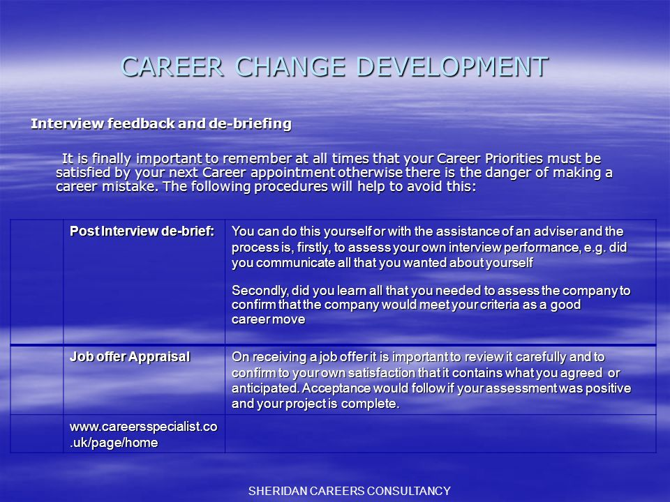 CAREER CHANGE DEVELOPMENT Interview feedback and de-briefing It is finally important to remember at all times that your Career Priorities must be satisfied by your next Career appointment otherwise there is the danger of making a career mistake.