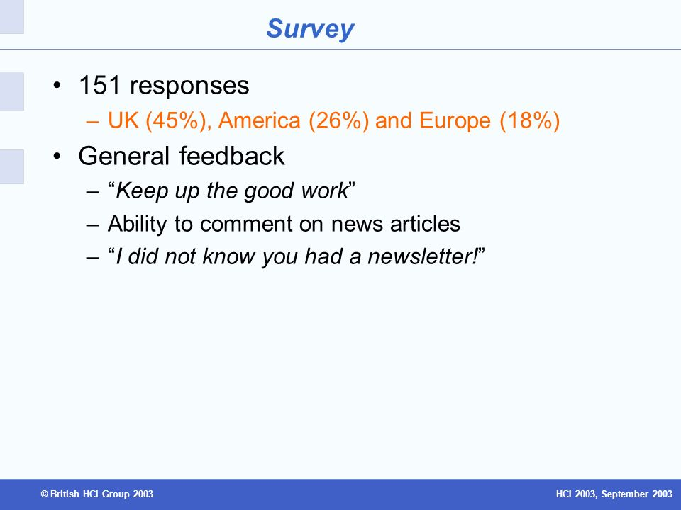 HCI 2003, September 2003© British HCI Group 2003 Survey 151 responses –UK (45%), America (26%) and Europe (18%) General feedback –Keep up the good work –Ability to comment on news articles –I did not know you had a newsletter!