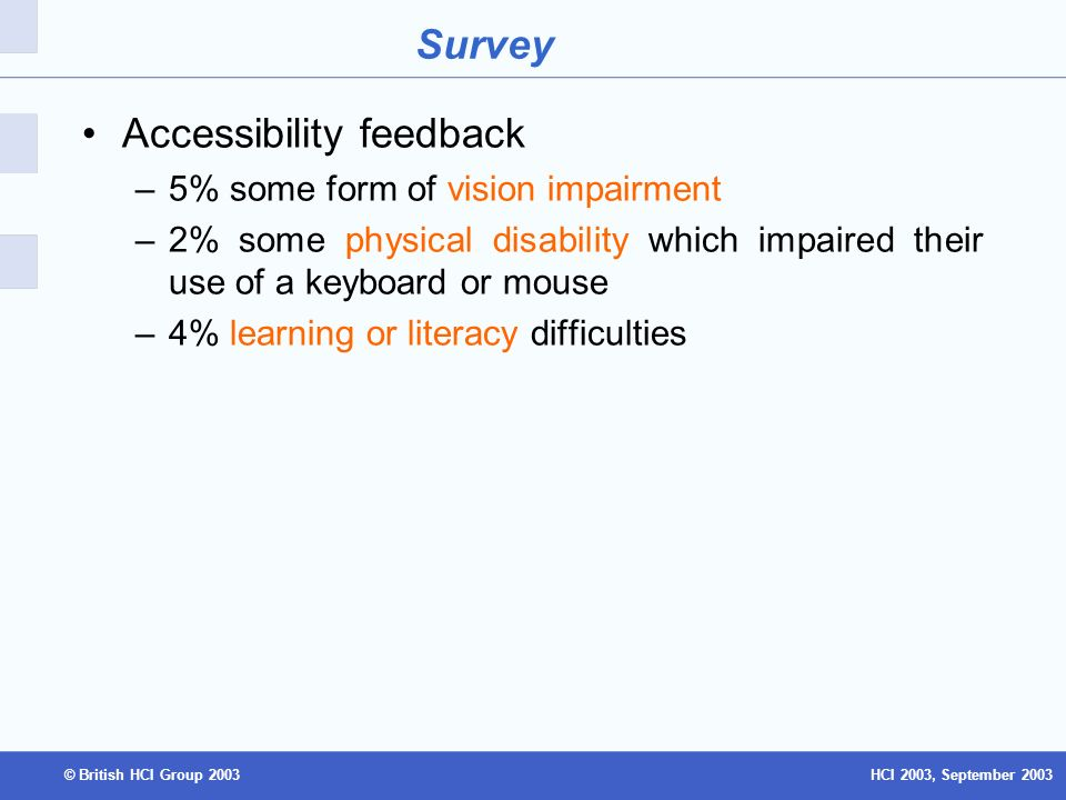 HCI 2003, September 2003© British HCI Group 2003 Survey Accessibility feedback –5% some form of vision impairment –2% some physical disability which impaired their use of a keyboard or mouse –4% learning or literacy difficulties