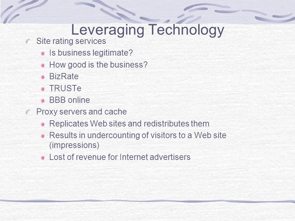 Leveraging Technology Site rating services Is business legitimate.