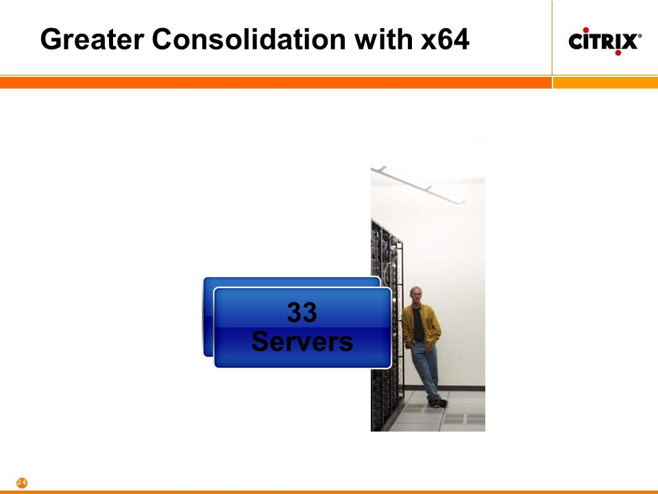 24 Greater Consolidation with x64 125 Servers 33 Servers