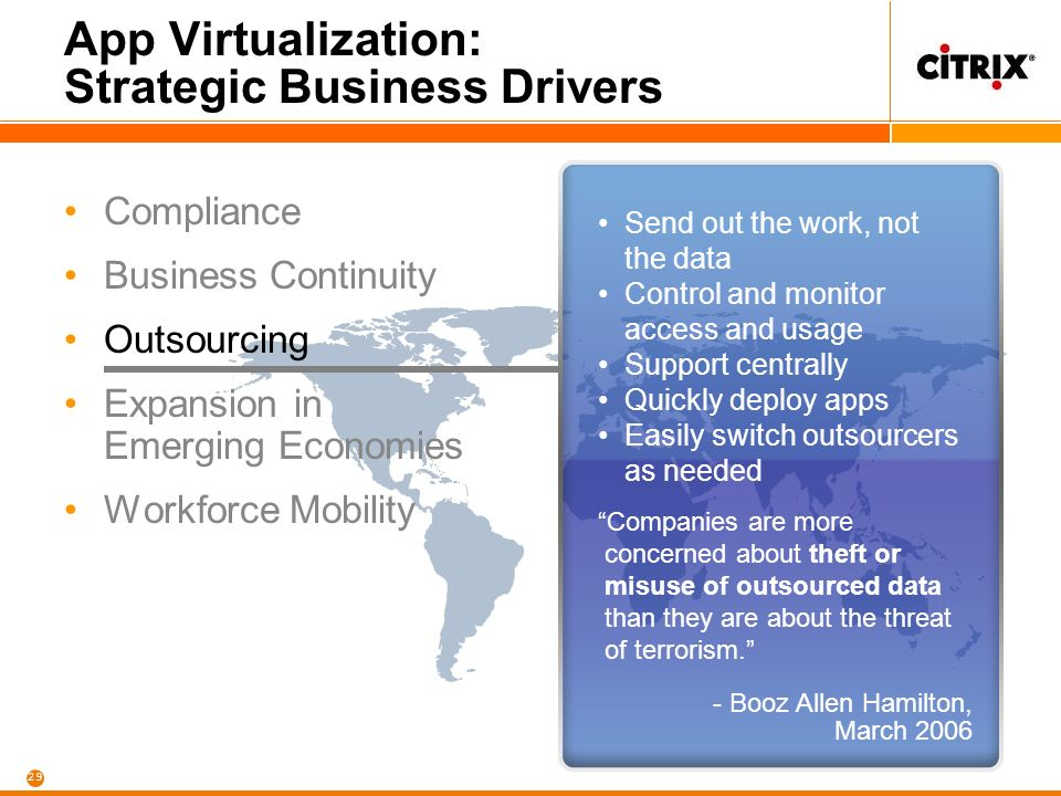 29 App Virtualization: Strategic Business Drivers Compliance Business Continuity Outsourcing Expansion in Emerging Economies Workforce Mobility Send out the work, not the data Control and monitor access and usage Support centrally Quickly deploy apps Easily switch outsourcers as needed Companies are more concerned about theft or misuse of outsourced data than they are about the threat of terrorism.