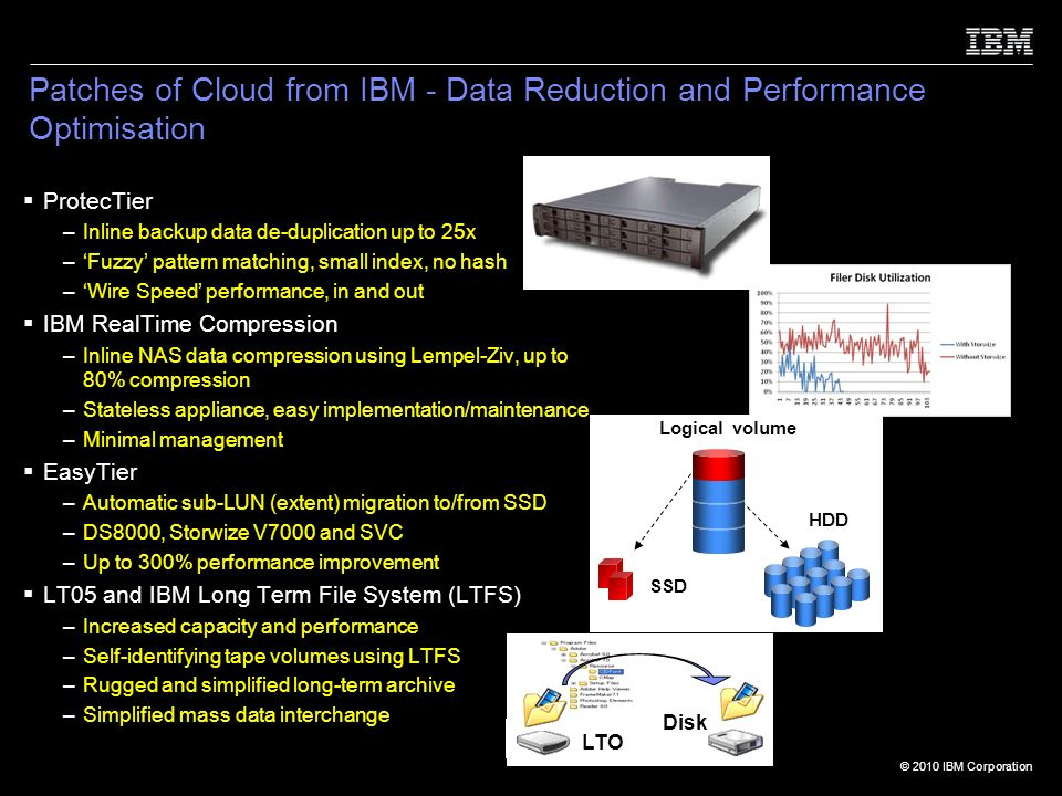 © 2010 IBM Corporation Disk LTO Patches of Cloud from IBM - Data Reduction and Performance Optimisation ProtecTier –Inline backup data de-duplication up to 25x –Fuzzy pattern matching, small index, no hash –Wire Speed performance, in and out IBM RealTime Compression –Inline NAS data compression using Lempel-Ziv, up to 80% compression –Stateless appliance, easy implementation/maintenance –Minimal management EasyTier –Automatic sub-LUN (extent) migration to/from SSD –DS8000, Storwize V7000 and SVC –Up to 300% performance improvement LT05 and IBM Long Term File System (LTFS) –Increased capacity and performance –Self-identifying tape volumes using LTFS –Rugged and simplified long-term archive –Simplified mass data interchange SSD HDD Logical volume