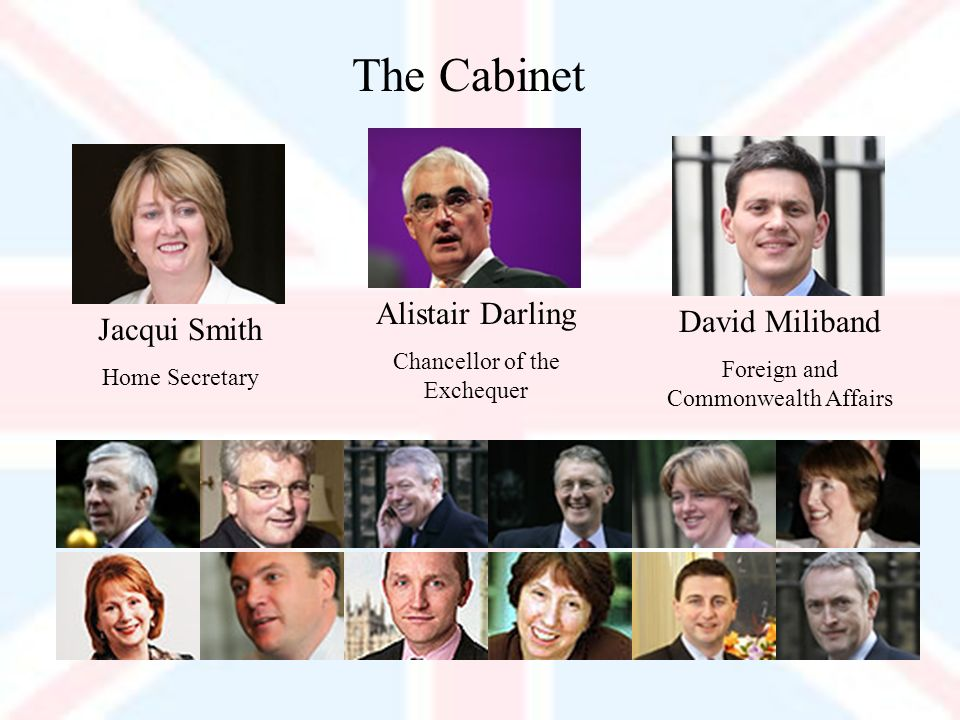 The Cabinet Jacqui Smith Home Secretary Alistair Darling Chancellor of the Exchequer David Miliband Foreign and Commonwealth Affairs