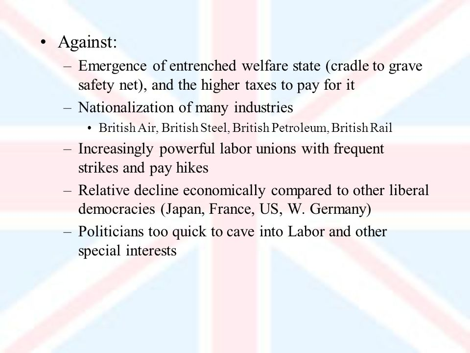 Against: –Emergence of entrenched welfare state (cradle to grave safety net), and the higher taxes to pay for it –Nationalization of many industries British Air, British Steel, British Petroleum, British Rail –Increasingly powerful labor unions with frequent strikes and pay hikes –Relative decline economically compared to other liberal democracies (Japan, France, US, W.