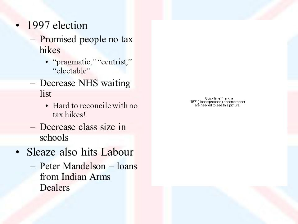 1997 election –Promised people no tax hikes pragmatic, centrist, electable –Decrease NHS waiting list Hard to reconcile with no tax hikes.