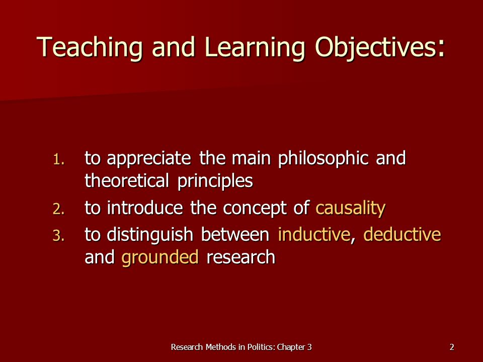 Research Methods in Politics: Chapter 32 Teaching and Learning Objectives : 1.