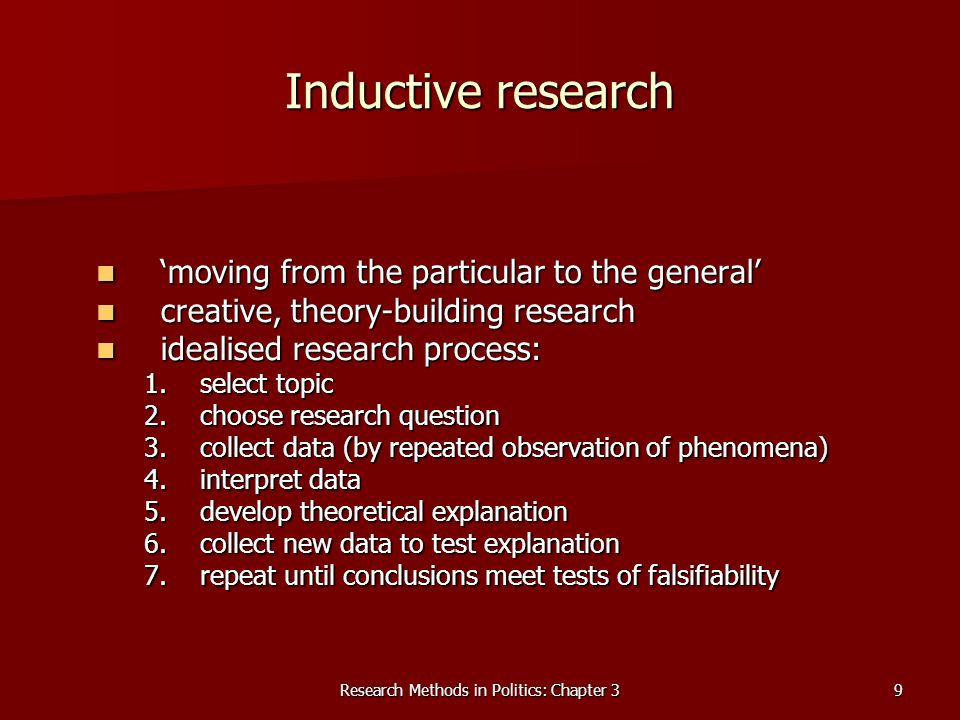 Research Methods in Politics: Chapter 39 Inductive research moving from the particular to the general moving from the particular to the general creative, theory-building research creative, theory-building research idealised research process: idealised research process: 1.select topic 2.choose research question 3.collect data (by repeated observation of phenomena) 4.interpret data 5.develop theoretical explanation 6.collect new data to test explanation 7.repeat until conclusions meet tests of falsifiability