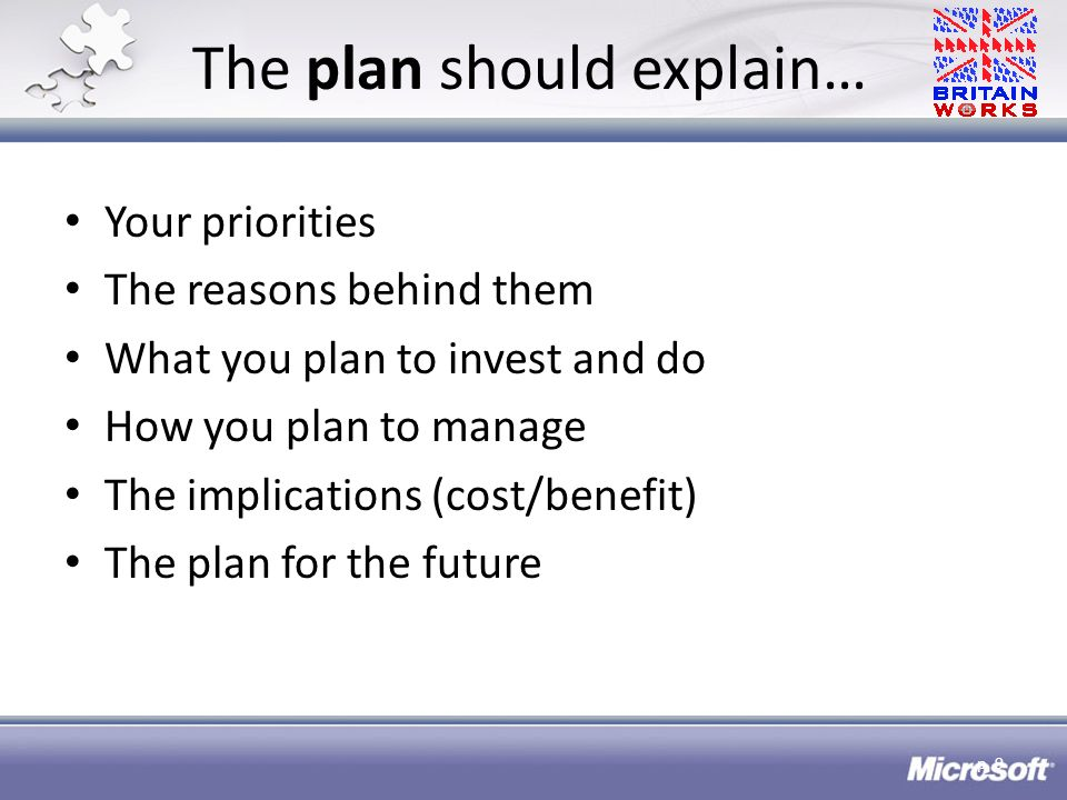 The plan should explain… Your priorities The reasons behind them What you plan to invest and do How you plan to manage The implications (cost/benefit) The plan for the future p.