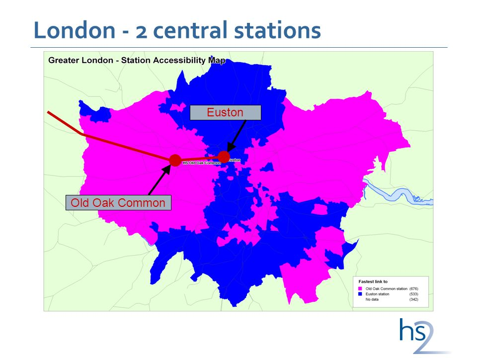 London - 2 central stations Euston Old Oak Common