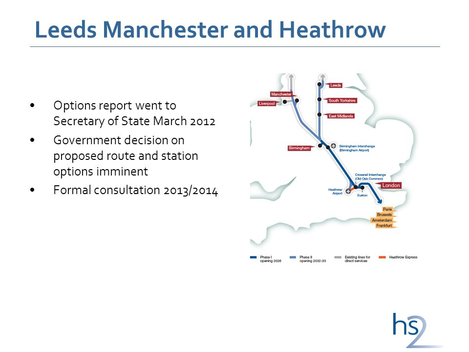 Leeds Manchester and Heathrow Options report went to Secretary of State March 2012 Government decision on proposed route and station options imminent Formal consultation 2013/2014