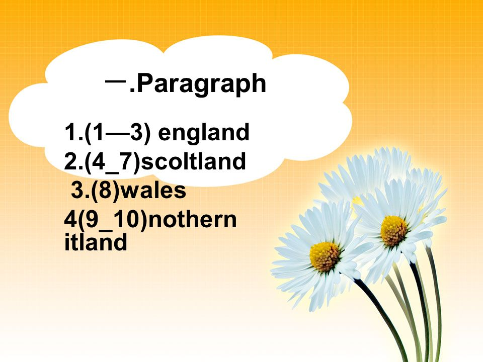 .Paragraph 1.(13) england 2.(4_7)scoltland 3.(8)wales 4(9_10)nothern itland