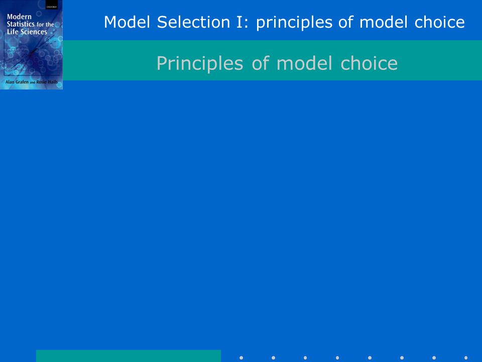 Model Selection I: principles of model choice Principles of model choice