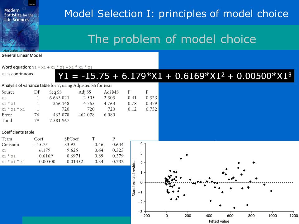 Model Selection I: principles of model choice The problem of model choice Y1 = *X *X *X1 3