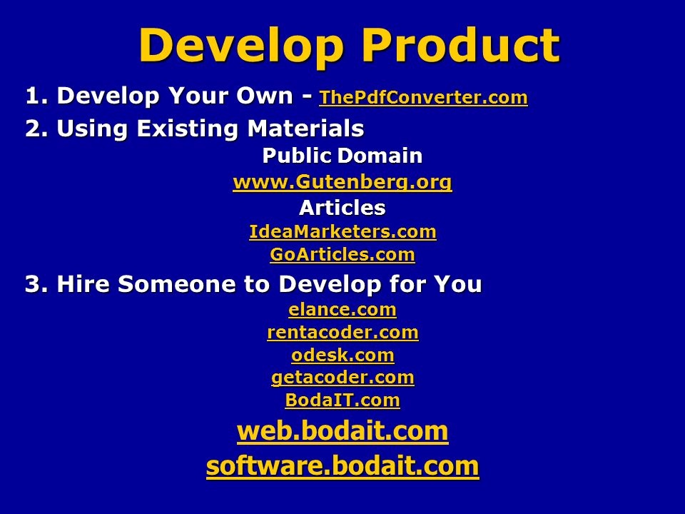 Develop Product 1. Develop Your Own - ThePdfConverter.com ThePdfConverter.com 2.
