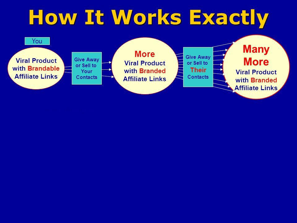 How It Works Exactly Viral Product with Brandable Affiliate Links You More Viral Product with Branded Affiliate Links Many More Viral Product with Branded Affiliate Links Give Away or Sell to Your Contacts Give Away or Sell to Their Contacts Your Website