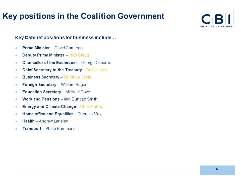 6 Key positions in the Coalition Government Key Cabinet positions for business include… Prime Minister – David Cameron Deputy Prime Minister – Nick Clegg Chancellor of the Exchequer – George Osborne Chief Secretary to the Treasury – David Laws Business Secretary – Dr Vince Cable Foreign Secretary – William Hague Education Secretary – Michael Gove Work and Pensions – Iain Duncan Smith Energy and Climate Change – Chris Huhne Home office and Equalities – Theresa May Health – Andrew Lansley Transport – Philip Hammond