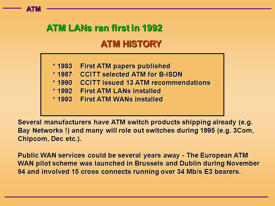 ATM ATM LANs ran first in 1992 ATM HISTORY * 1983First ATM papers published * 1987CCITT selected ATM for B-ISDN * 1990CCITT issued 13 ATM recommendations * 1992First ATM LANs installed * 1993First ATM WANs installed Several manufacturers have ATM switch products shipping already (e.g.
