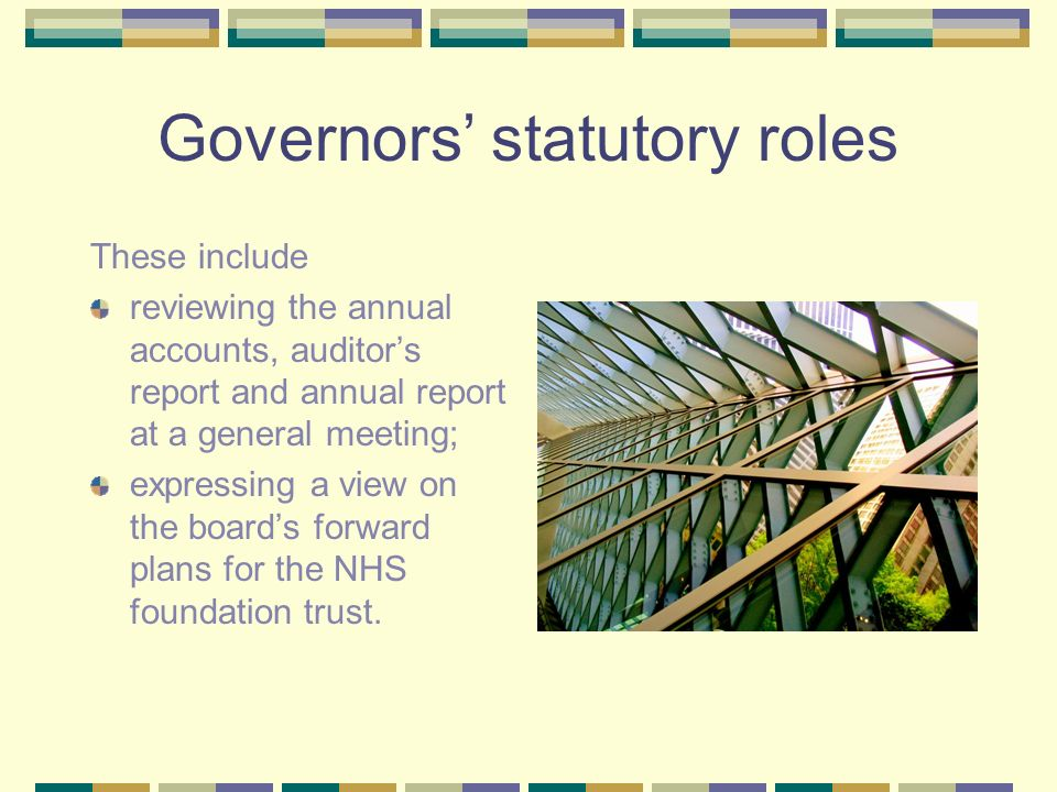 Governors statutory roles These include reviewing the annual accounts, auditors report and annual report at a general meeting; expressing a view on the boards forward plans for the NHS foundation trust.