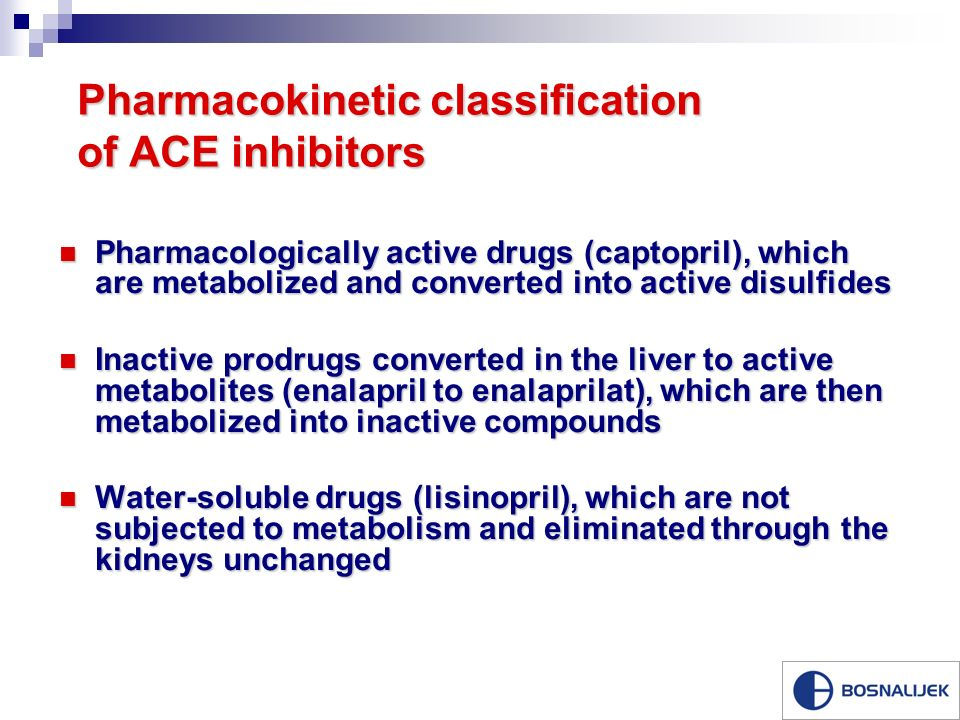 Pharmacokinetic classification of ACE inhibitors Pharmacologically active drugs (captopril), which are metabolized and converted into active disulfides Pharmacologically active drugs (captopril), which are metabolized and converted into active disulfides Inactive prodrugs converted in the liver to active metabolites (enalapril to enalaprilat), which are then metabolized into inactive compounds Inactive prodrugs converted in the liver to active metabolites (enalapril to enalaprilat), which are then metabolized into inactive compounds Water-soluble drugs (lisinopril), which are not subjected to metabolism and eliminated through the kidneys unchanged Water-soluble drugs (lisinopril), which are not subjected to metabolism and eliminated through the kidneys unchanged