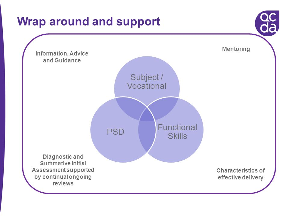 Wrap around and support Characteristics of effective delivery Information, Advice and Guidance Diagnostic and Summative Initial Assessment supported by continual ongoing reviews Mentoring Subject / Vocational Functional Skills PSD