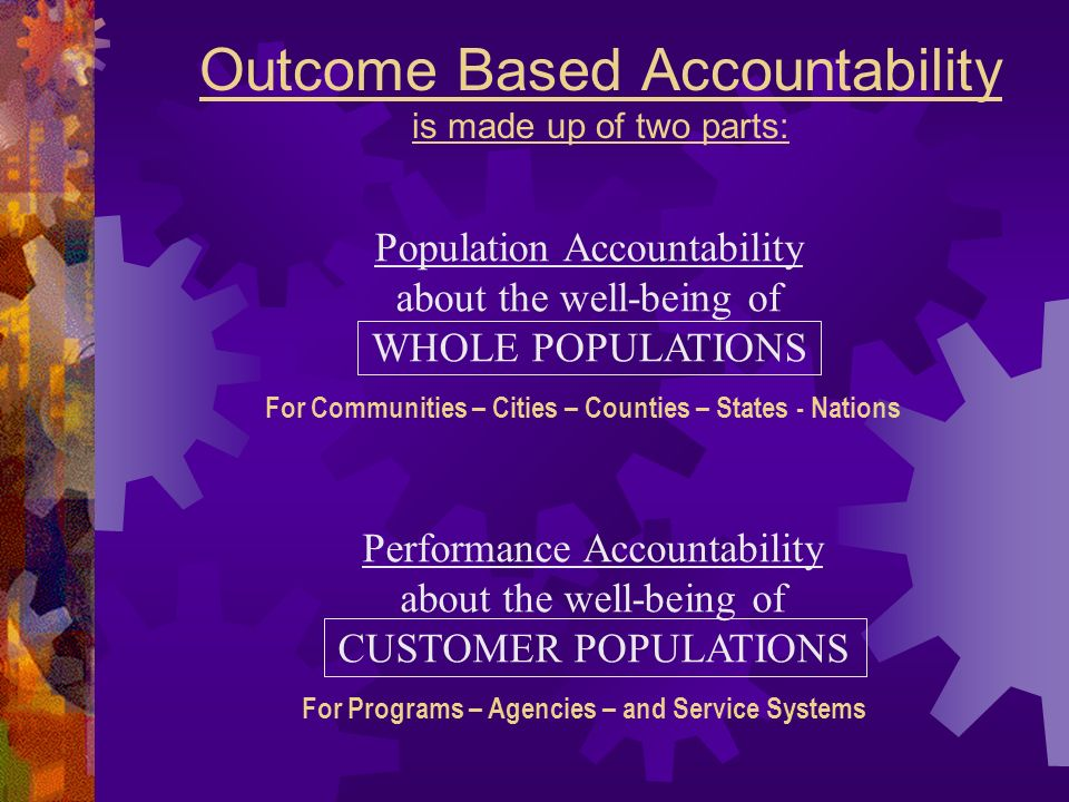 Outcome Based Accountability is made up of two parts: Performance Accountability about the well-being of CUSTOMER POPULATIONS For Programs – Agencies – and Service Systems Population Accountability about the well-being of WHOLE POPULATIONS For Communities – Cities – Counties – States - Nations