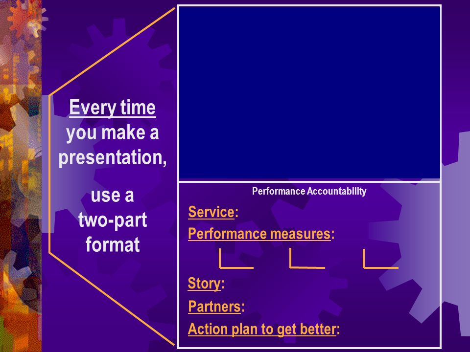 Every time you make a presentation, use a two-part format Result: to which you contribute to most directly.
