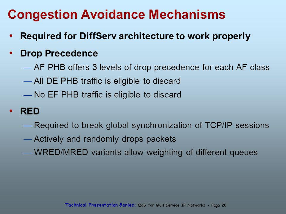 Technical Presentation Series: QoS for MultiService IP Networks - Page 20 Congestion Avoidance Mechanisms Required for DiffServ architecture to work properly Drop Precedence AF PHB offers 3 levels of drop precedence for each AF class All DE PHB traffic is eligible to discard No EF PHB traffic is eligible to discard RED Required to break global synchronization of TCP/IP sessions Actively and randomly drops packets WRED/MRED variants allow weighting of different queues