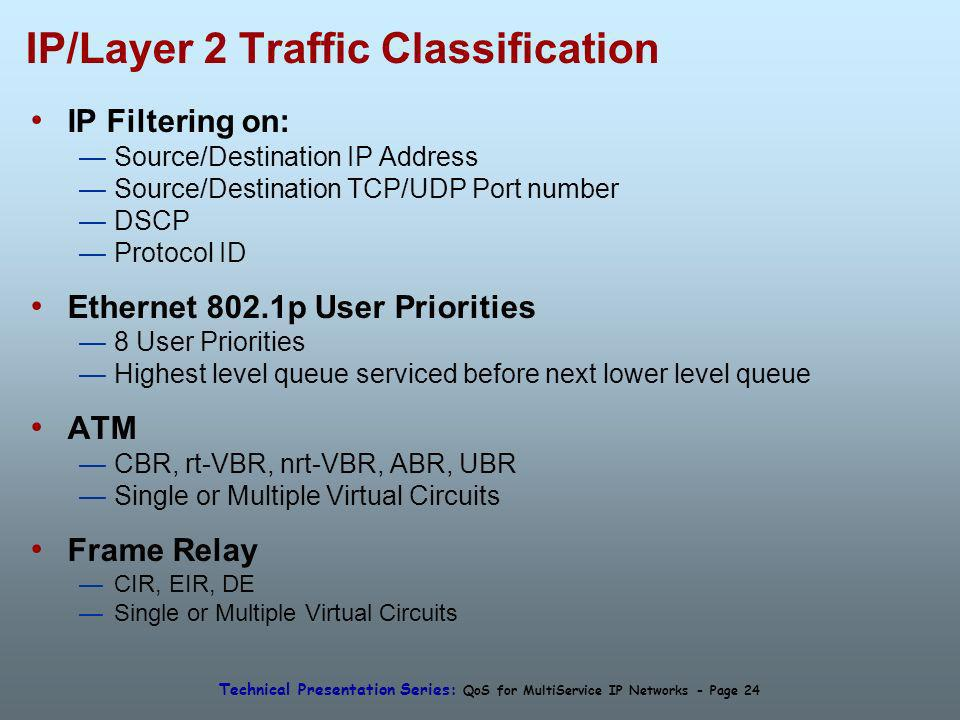 Technical Presentation Series: QoS for MultiService IP Networks - Page 24 IP/Layer 2 Traffic Classification IP Filtering on: Source/Destination IP Address Source/Destination TCP/UDP Port number DSCP Protocol ID Ethernet 802.1p User Priorities 8 User Priorities Highest level queue serviced before next lower level queue ATM CBR, rt-VBR, nrt-VBR, ABR, UBR Single or Multiple Virtual Circuits Frame Relay CIR, EIR, DE Single or Multiple Virtual Circuits
