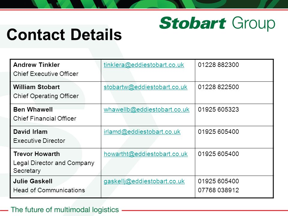 Contact Details Andrew Tinkler Chief Executive Officer tinklera@eddiestobart.co.uk01228 882300 William Stobart Chief Operating Officer stobartw@eddiestobart.co.uk01228 822500 Ben Whawell Chief Financial Officer whawellb@eddiestobart.co.uk01925 605323 David Irlam Executive Director irlamd@eddiestobart.co.uk01925 605400 Trevor Howarth Legal Director and Company Secretary howartht@eddiestobart.co.uk01925 605400 Julie Gaskell Head of Communications gaskellj@eddiestobart.co.uk01925 605400 07768 038912