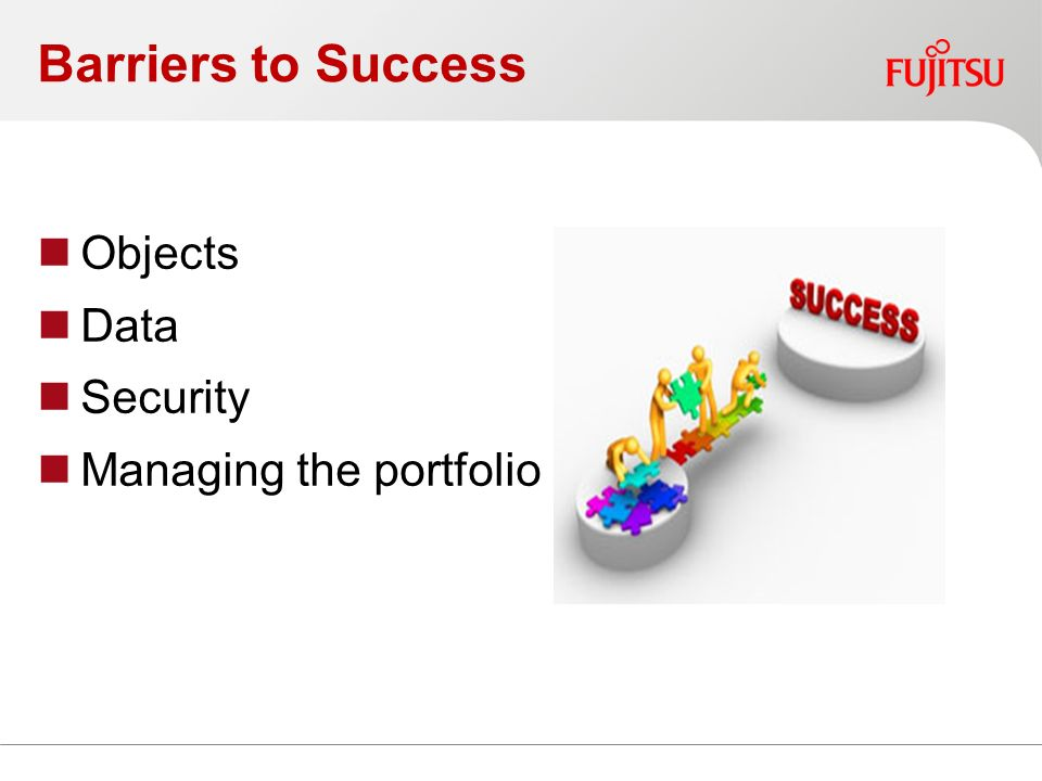 Barriers to Success Objects Data Security Managing the portfolio