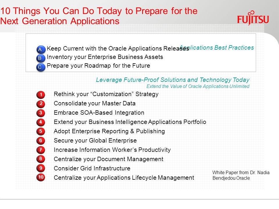 10 Things You Can Do Today to Prepare for the Next Generation Applications Leverage Future-Proof Solutions and Technology Today Extend the Value of Oracle Applications Unlimited Rethink your Customization Strategy Consolidate your Master Data Embrace SOA-Based Integration Extend your Business Intelligence Applications Portfolio Adopt Enterprise Reporting & Publishing Secure your Global Enterprise Increase Information Workers Productivity Centralize your Document Management Consider Grid Infrastructure Centralize your Applications Lifecycle Management Applications Best Practices Keep Current with the Oracle Applications Releases Inventory your Enterprise Business Assets Prepare your Roadmap for the Future A B C White Paper from Dr.