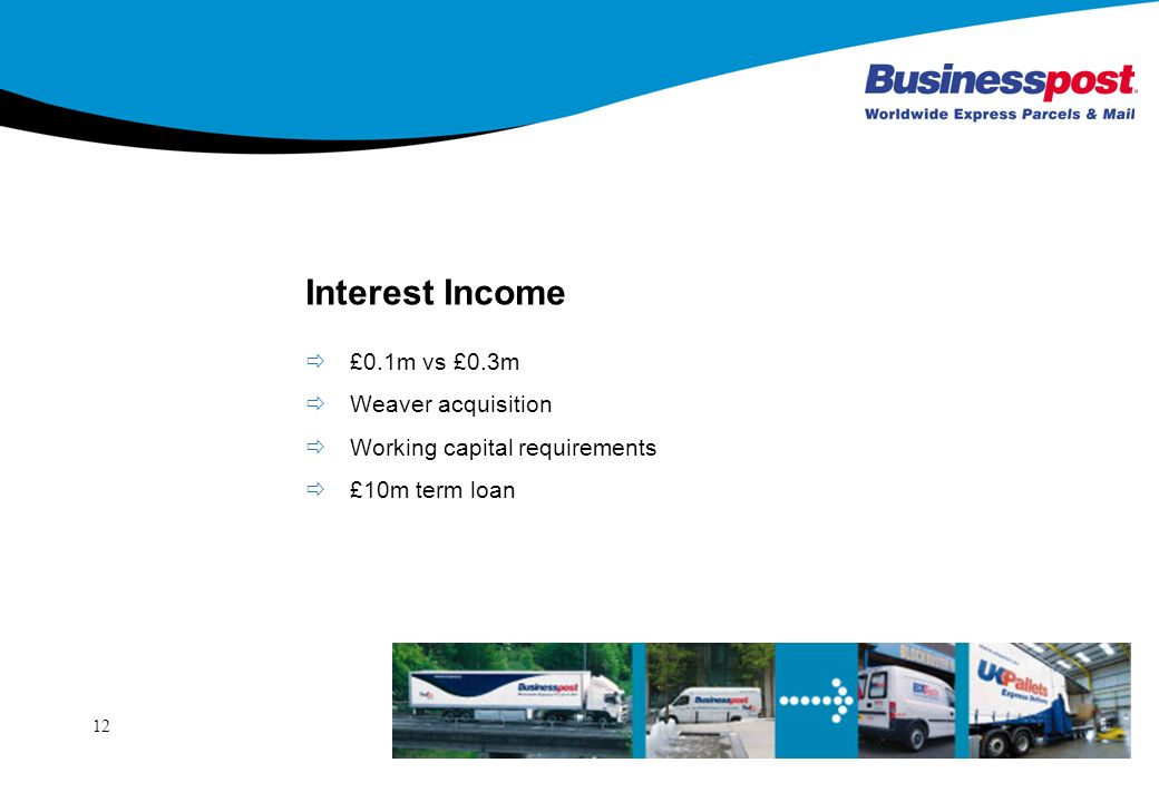 12 Interest Income £0.1m vs £0.3m Weaver acquisition Working capital requirements £10m term loan